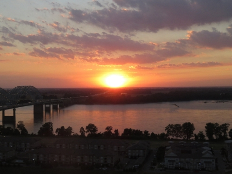 Sunset from the top of the Pyramid with Mississippi River in the background